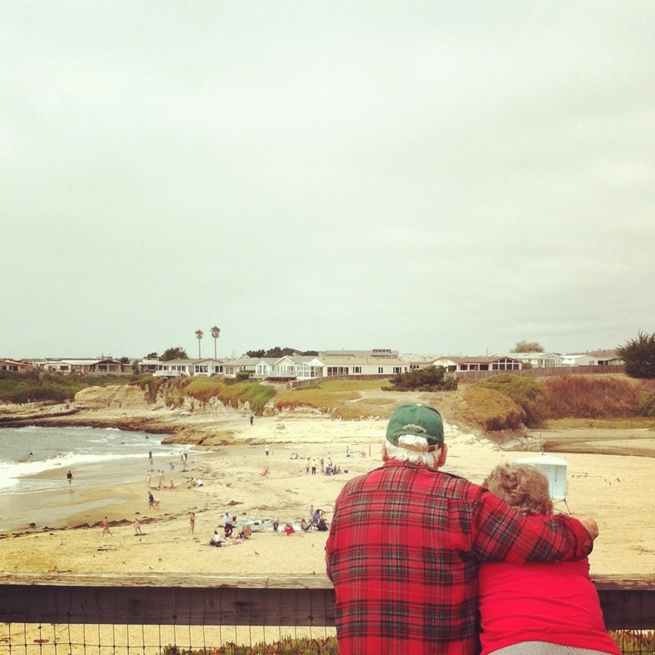 A couple watches the ocean at Natural Bridges State Beach